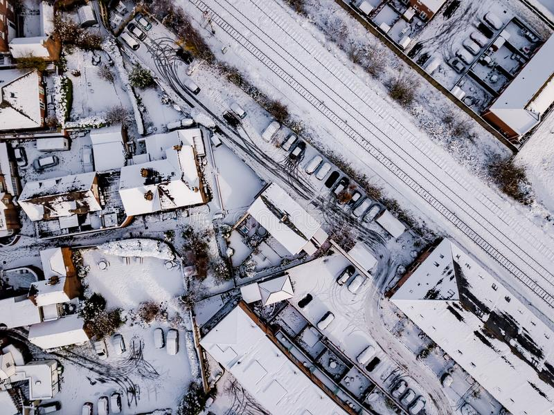 La vue aérienne de la neige a compromis des réseaus routiers de rail et photos libres de droits