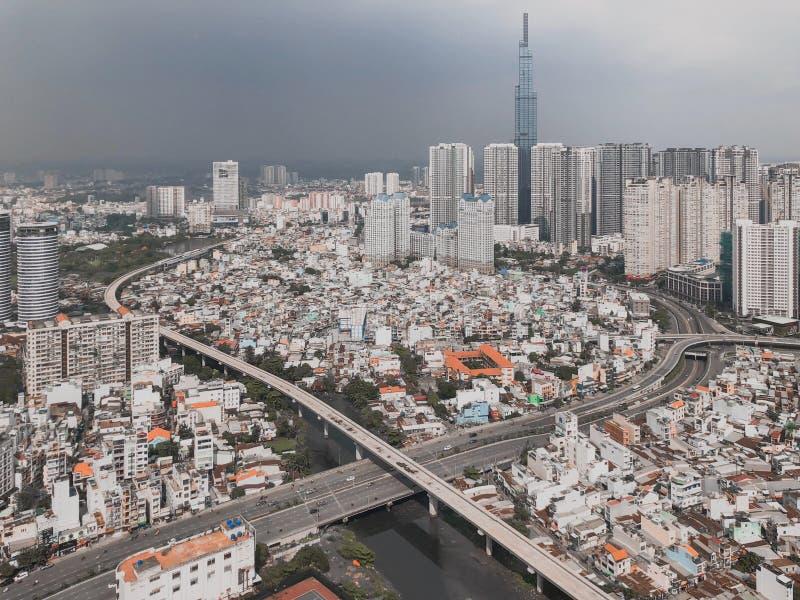 La vue aérienne de la ville image stock