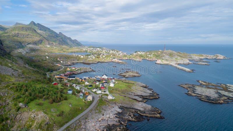La vue aérienne sur lofoten Beau paysage d'été en Norvège photographie stock