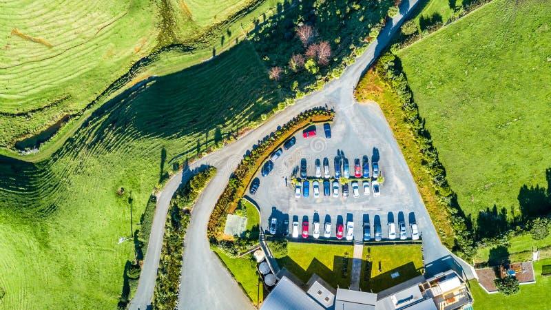 La vue aérienne sur un vignoble sur des collines s'approchent de nouveau Plymouth Région de Taranaki, Nouvelle-Zélande images libres de droits