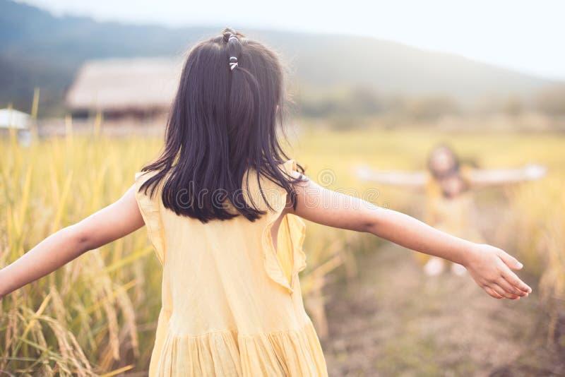 La vue arrière de la fille asiatique de petit enfant soulèvent sa main photo stock