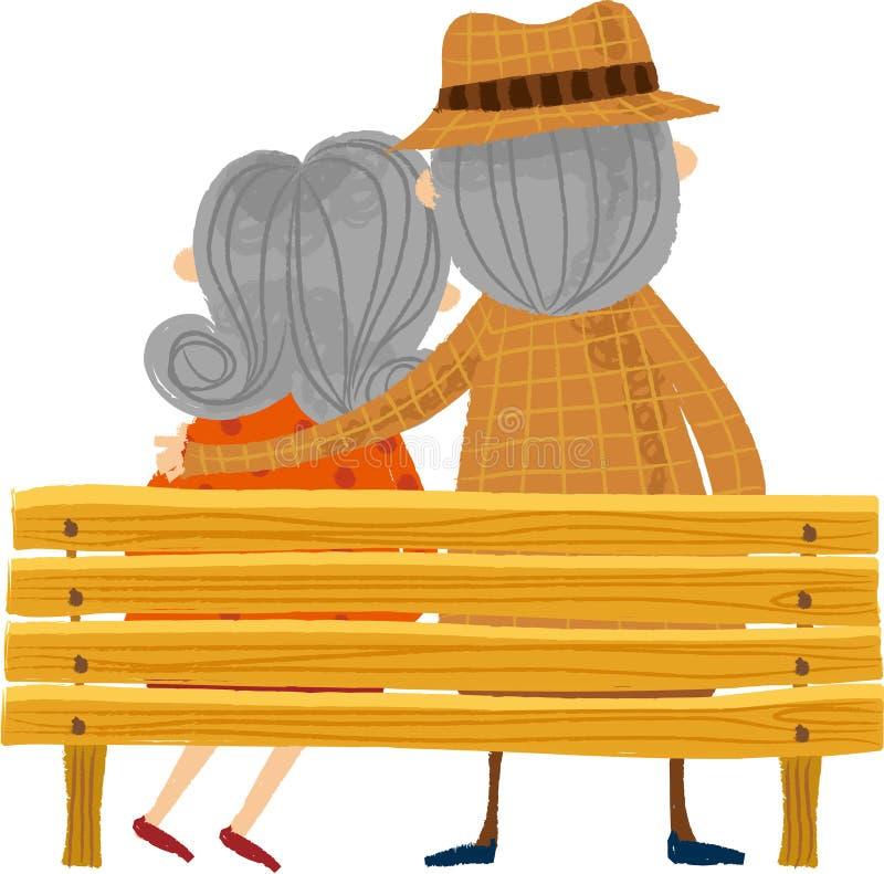 La vue arrière de vieux couples illustration de vecteur