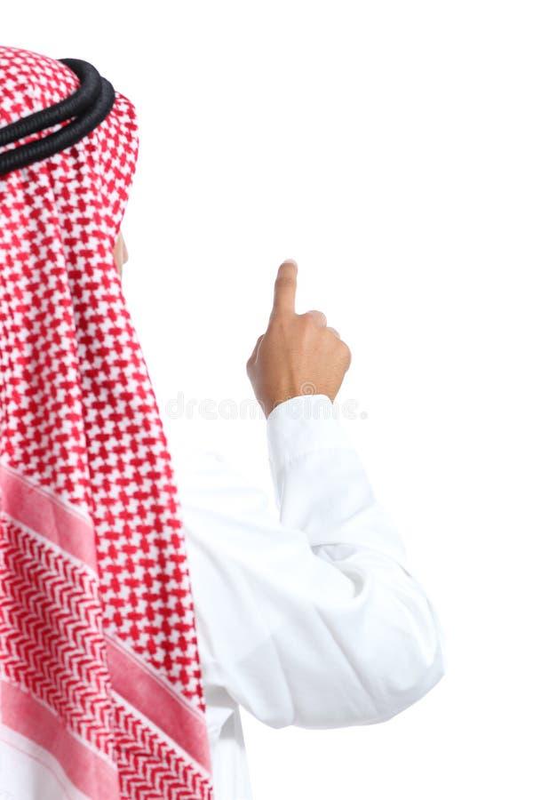 La vue arrière des émirats saoudiens d'un Arabe équipent sélectionner dans le ciel image stock