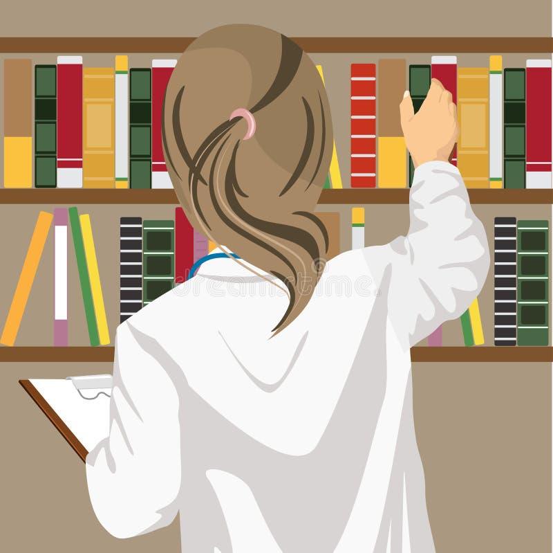 La vue arrière du docteur féminin tire un journal médical hors de l'étagère dans le bureau du ` s de docteur illustration de vecteur