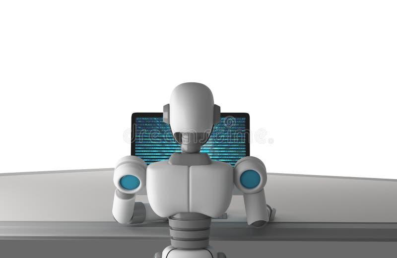 La vue arrière du robot utilisant un ordinateur avec des données binaires numérotent le code illustration libre de droits