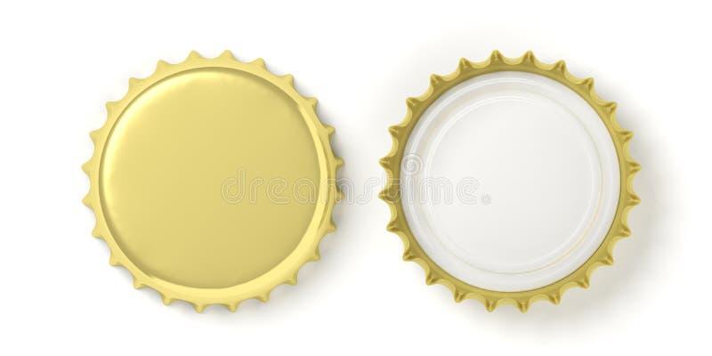 La vue avant et arrière de la bière d'or couvre, sur le fond blanc, la vue supérieure illustration 3D illustration de vecteur
