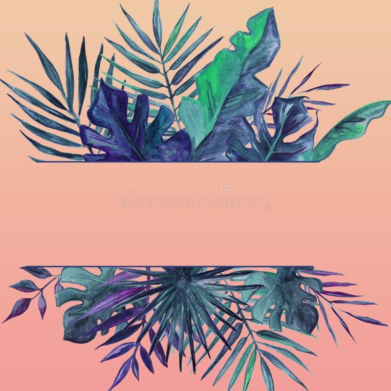La vue avec des paumes part sur un fond rose Pour la carte de voeux, ?pousant l'invitation Illustration d'aquarelle illustration stock