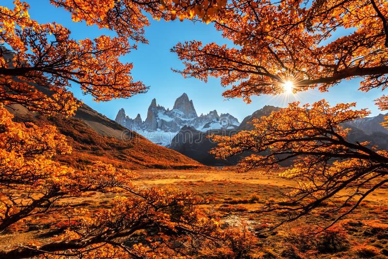 La vue d'automne de Monte Fitz Roy image libre de droits