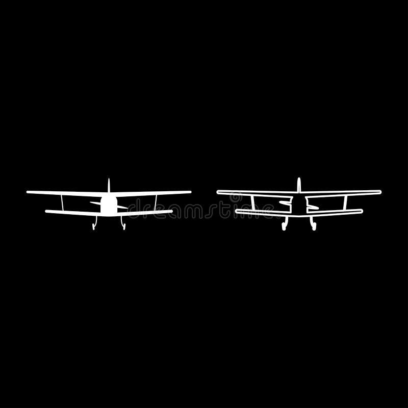 La vue d'avion avec le contour civil avant d'icône de machine volante d'avions légers a placé l'image plate de style de couleur d illustration libre de droits