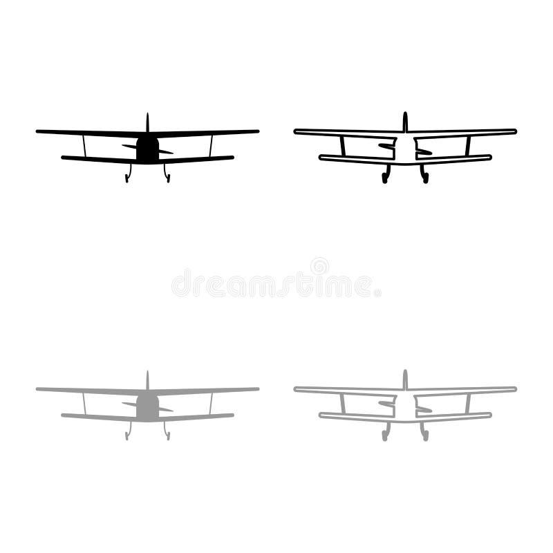 La vue d'avion avec le contour civil avant d'icône de machine volante d'avions légers a placé le style plat de couleur d'illustra illustration libre de droits
