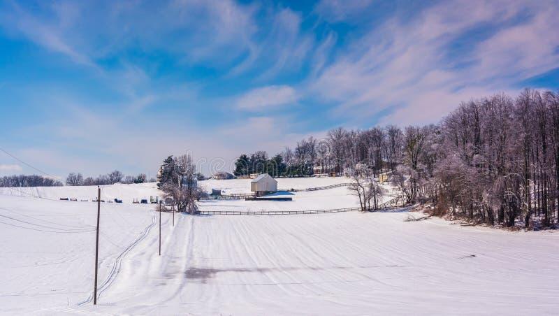 La vue d'hiver de la neige a couvert des champs de ferme dans Carroll County rurale, photos stock
