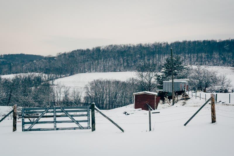 La vue d'hiver de la neige a couvert des champs de ferme dans Carroll County rurale, photo stock