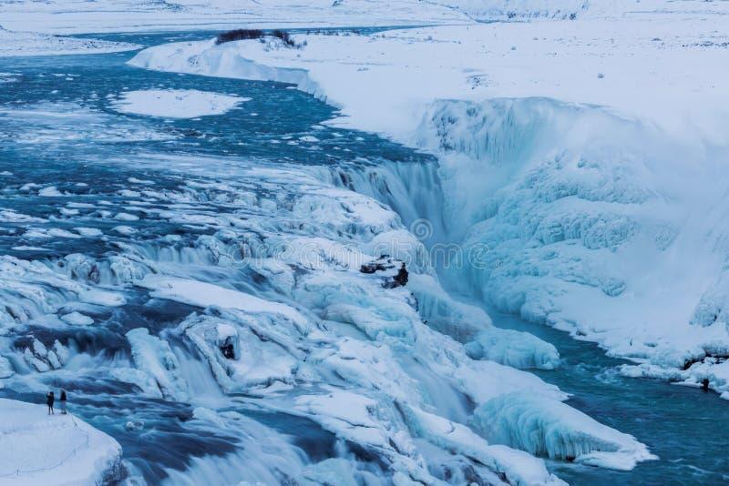 La vue d'hiver du Gullfoss tombe, l'Islande photo libre de droits