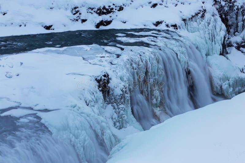 La vue d'hiver du Gullfoss tombe, l'Islande photographie stock
