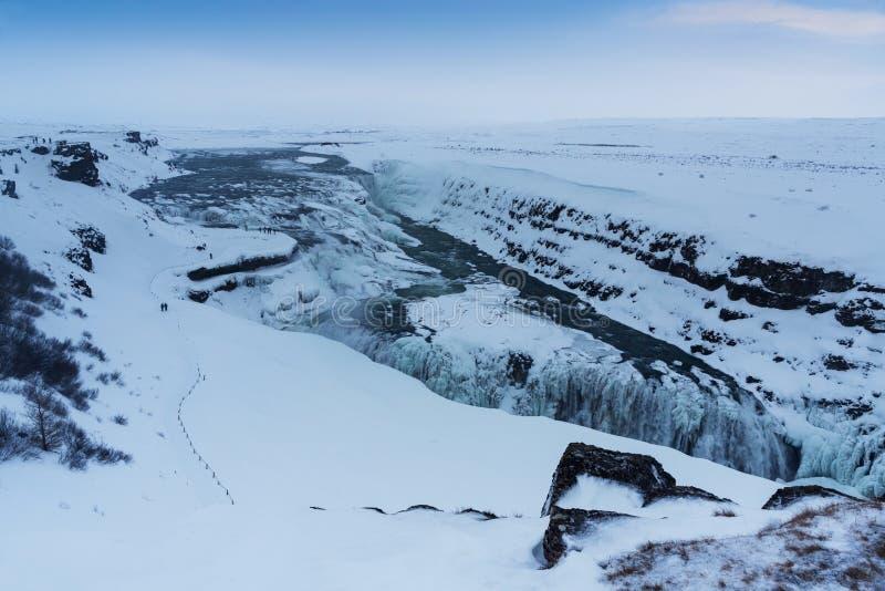 La vue d'hiver du Gullfoss tombe, l'Islande image libre de droits