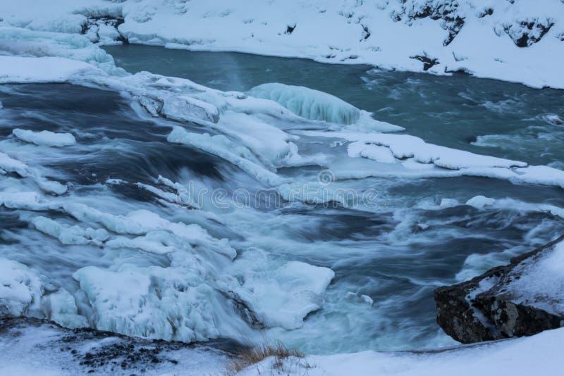 La vue d'hiver du Gullfoss tombe, l'Islande images stock
