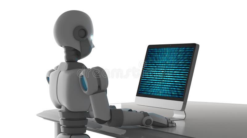 La vue de côté du robot utilisant un ordinateur avec des données binaires numérotent le code illustration libre de droits