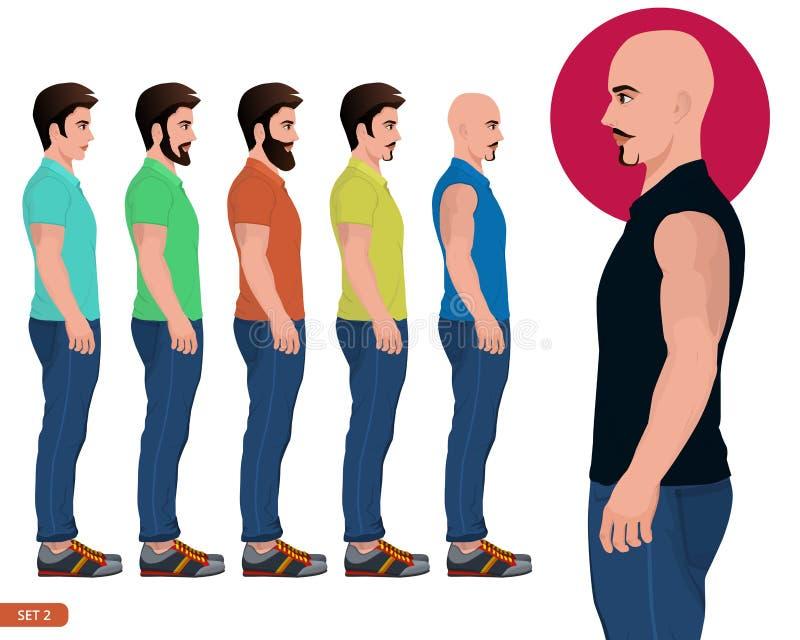 La vue de côté de jeune homme de style beau de barbe, position masculine, pose de côté de caractère, garçon occasionnel à la mode illustration libre de droits