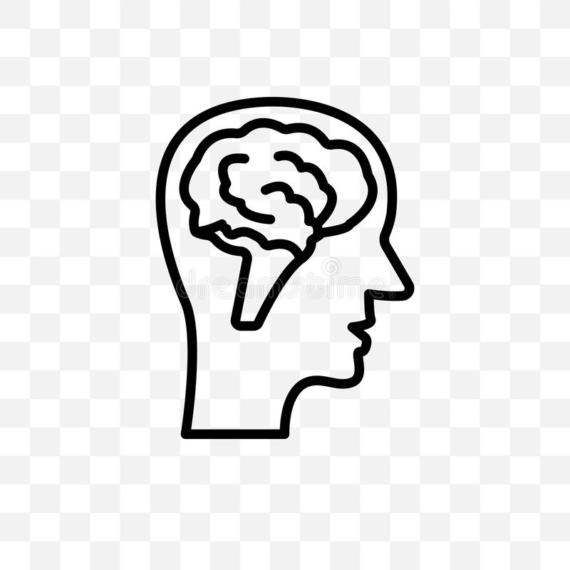 La vue de côté masculine de tête avec des cerveaux dirigent l'icône linéaire d'isolement sur le fond transparent, vue de côté pri illustration stock