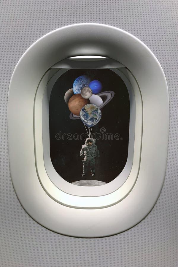 La vue de la fenêtre de hublot sur l'astronaute avec des planètes a formé des ballons dans le système solaire Éléments de cette i illustration stock