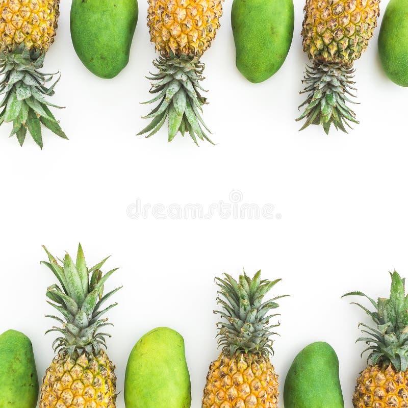 La vue de l'ananas et de la mangue porte des fruits sur le fond blanc Configuration plate photos stock