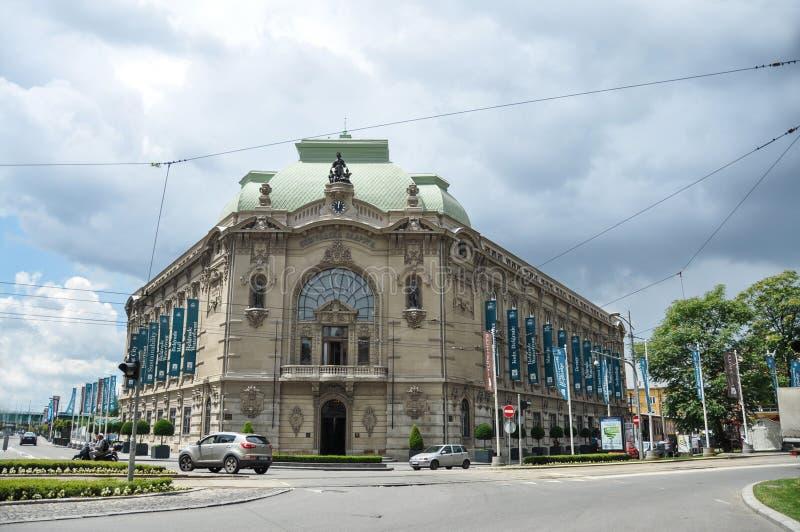 La vue de l'extérieur de la coopérative de Belgrade était une banque coopérative fondée en 1882 pour favoriser l'épargne et pour  photographie stock