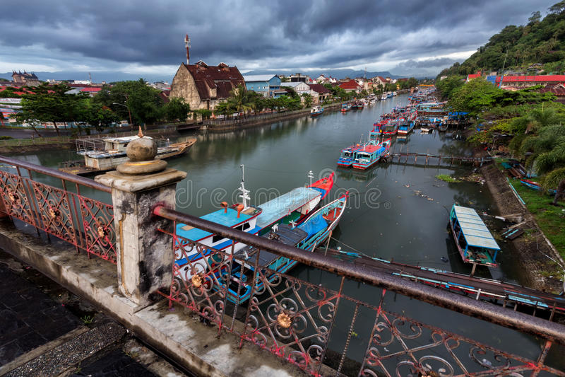 La vue de la rivière de Muaro Padang images libres de droits