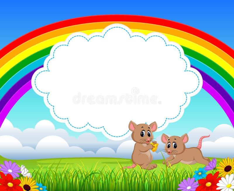La vue de nature avec l'espace vide de panneau de nuage et deux petites souris tenant le chesse illustration libre de droits