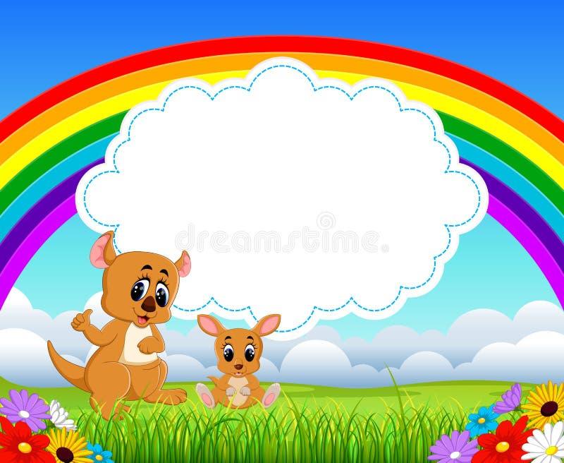 La vue de nature avec l'espace vide de panneau de nuage et un petit kangourou avec sa maman illustration stock