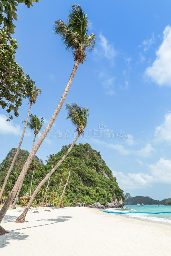 La vue de paysage aux ventres de Wua enroulent la plage d'île avec des palmiers de noix de coco dans les îles d'Angthong Marine P photographie stock
