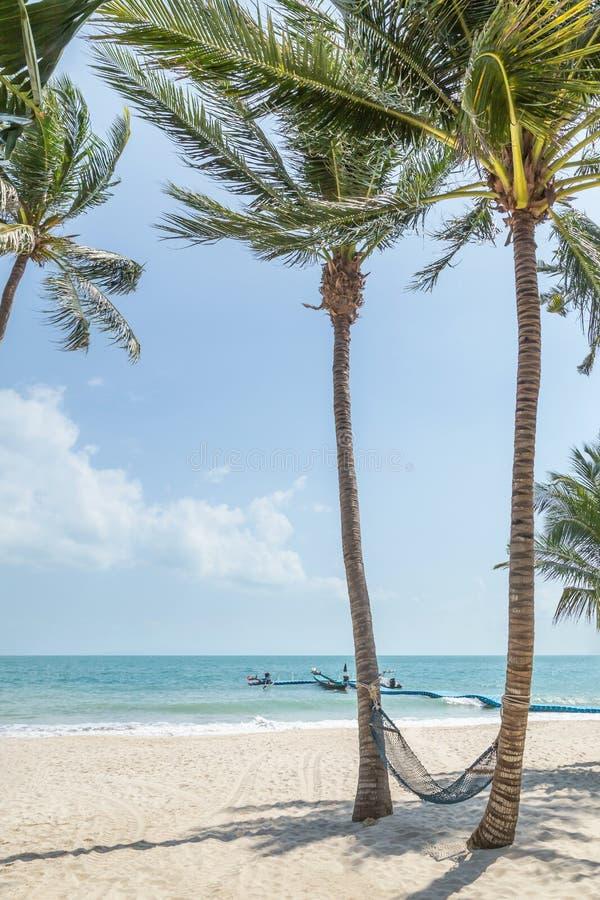 La vue de paysage aux ventres de Wua enroulent la plage et l'hamac d'île pour la relaxation avec le sommeil à détendre sous des p photos stock