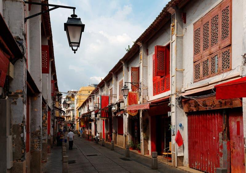 La vue de perspective de la rue du bonheur Rua DA Felicidade a flanqué des maisons de chinois traditionnel photographie stock