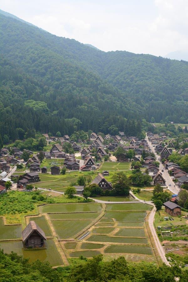 La vue de Shirakawa-vont de la plate-forme d'observation de château Pr?fecture de Gifu Chubu japan photo stock