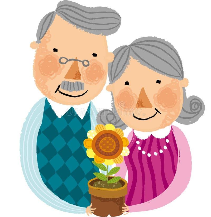 La vue de vieux couples illustration stock