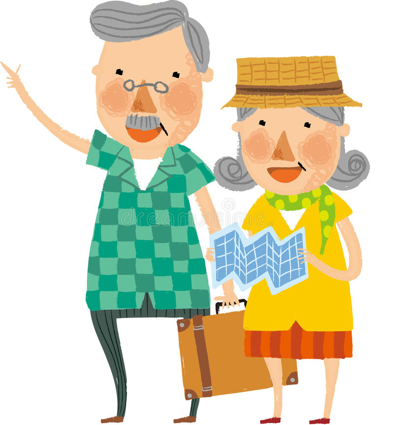 La vue de vieux couples illustration libre de droits