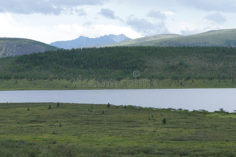 La vue des montagnes dans les montagnes de Sayan orientales du passage vers la frontière mongole photographie stock libre de droits