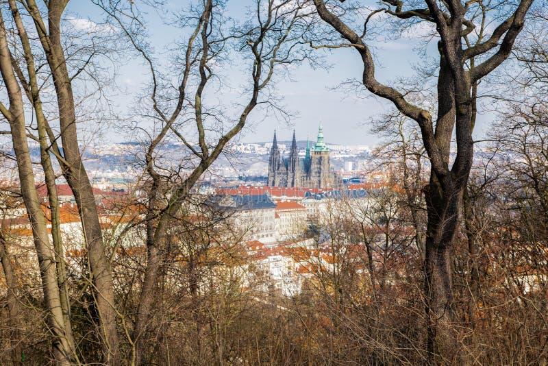 La vue du beau St Vitus Cathedral et Hradcany images stock