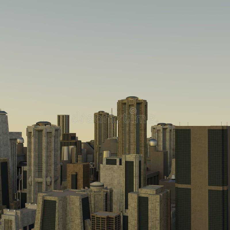 La vue du vol au-dessus de la ville industrielle futuriste de l'avenir illustration stock