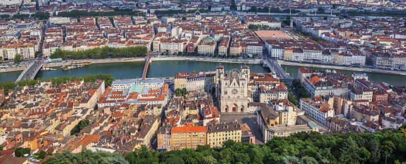 La vue la plus célèbre de Lyon images libres de droits