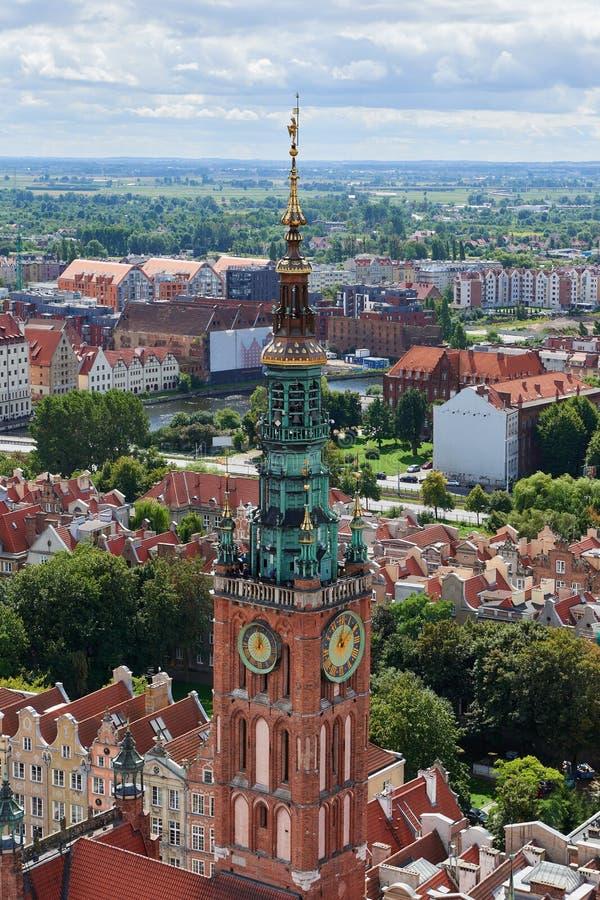 La vue panoramique de la cathédrale de Danzig de la Vierge de saint, Pologne images stock