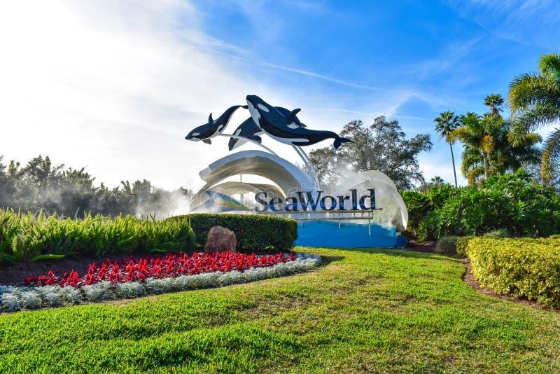La vue panoramique de Seaworld signent dedans la région internationale d'entraînement images stock
