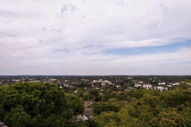 La vue panoramique des oliviers met en place dans Salento, Italie photo stock