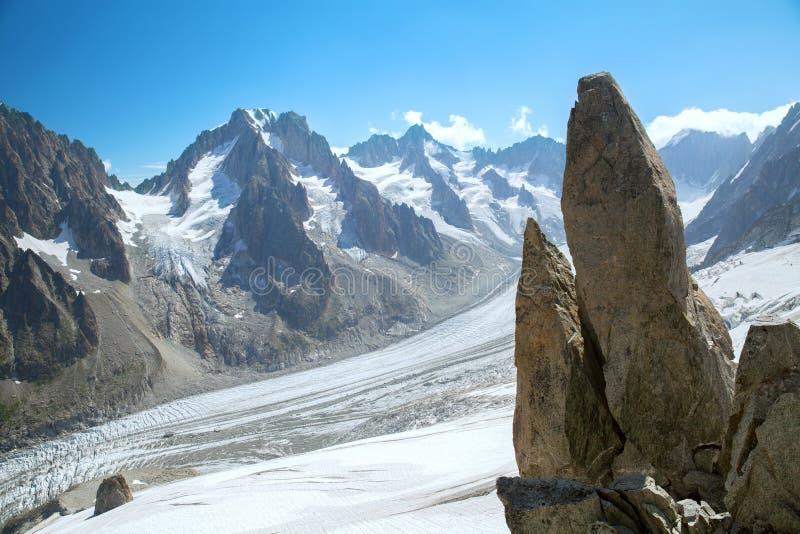 La vue panoramique du glacier en massif de Mont Blanc images stock