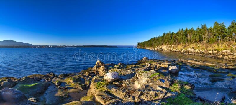 La vue panoramique scénique de l'océan et le Jack Point et le Biggs se garent images libres de droits