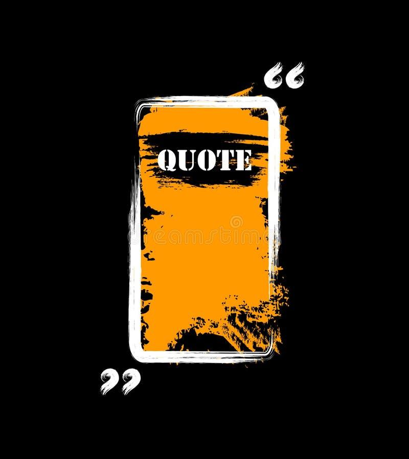 La vue pour la citation a fait à la main aux brosses tirées le noir orange blanc illustration stock