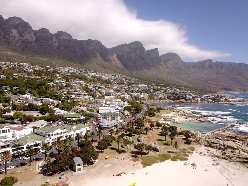 La vue a?rienne des camps aboient, Cape Town, Afrique du Sud photos libres de droits