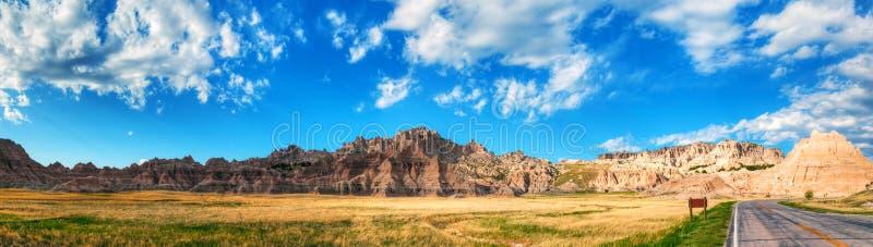 Vue scénique aux bad-lands parc national, le Dakota du Sud, Etats-Unis image libre de droits