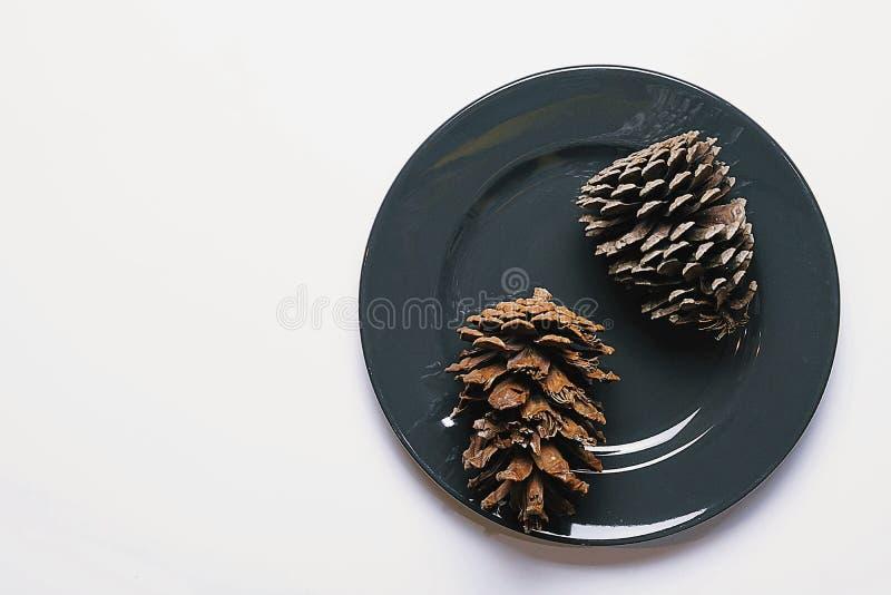 La vue supérieure avec l'espace de copie, décoration de Noël, deux cônes de pin dans le plat foncé ont été placées sur le fond bl photos libres de droits