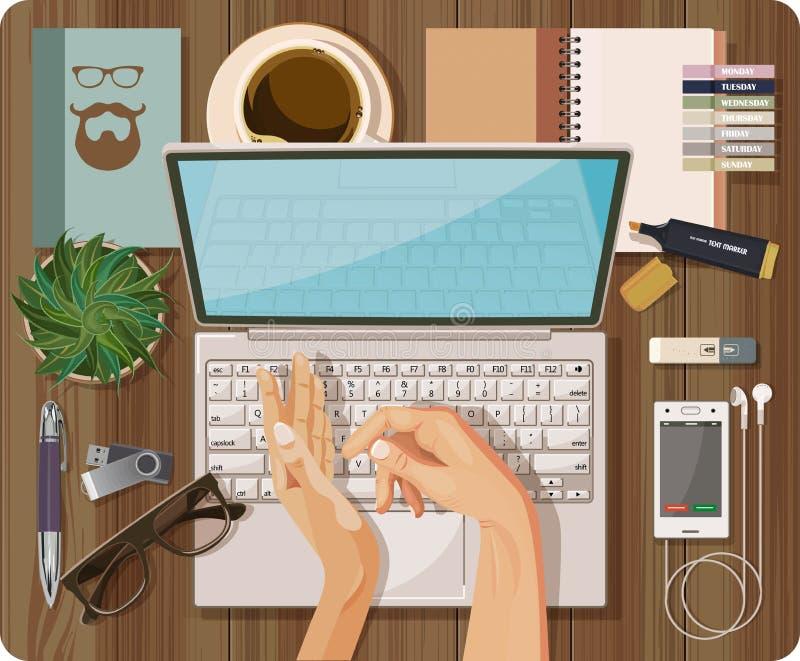 La vue supérieure avec la table texturisée, ordinateur, ordinateur portable, carnet, stylo, téléphone portable, casque, mains, fo illustration libre de droits