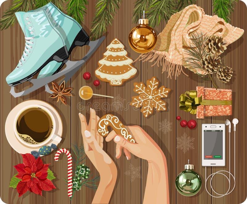 La vue supérieure avec la table texturisée, patinant, pain d'épice, sapin s'embranche, Noël joue illustration de vecteur